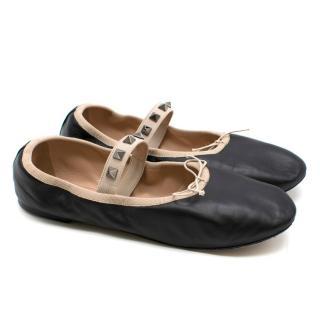 Valentino Black Rockstud Leather Ballet Flats