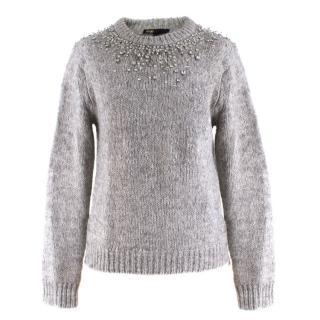 Maje Grey Embellished Wool-blend Sweater