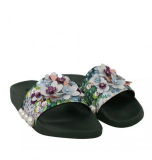 Dolce & Gabbana Floral Embellished Slides