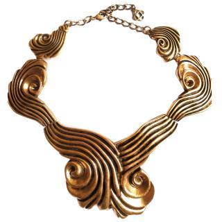 Oscar De La Renta Brass Art Deco Necklace