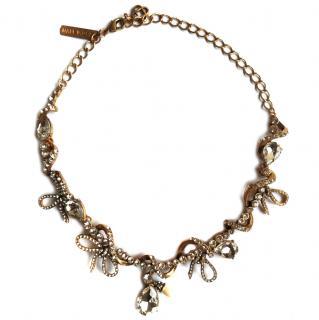 Oscar De La Renta Pave Bow Spiral Necklace
