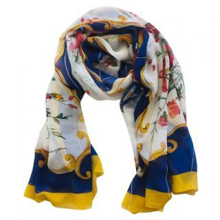 Dolce & Gabbana Majolica Print Silk Wrap Scarf