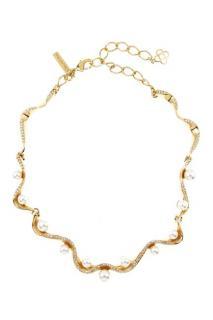Oscar de la Renta Crystal Pave Wave Pearl Necklace