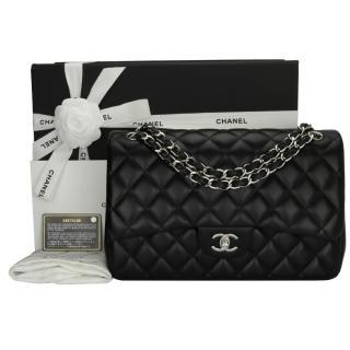 cefcfa47e4 Chanel Black Lambskin Leather Double Flap Jumbo Bag