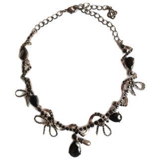 OSCAR DE LA RENTA Swarovski Crystal Pave Bow Spiral necklace