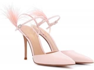 Gianvito Rossi feather-trimmed blush pumps