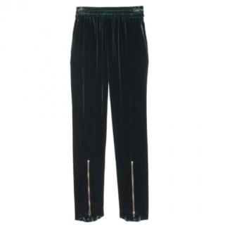 Sandro velour green tracksuit-style trousers