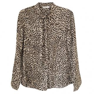 Anine Bing Leopard Print Holly Pussy Bow Blouse