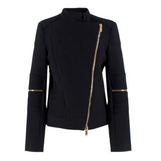 Stella McCartney Black Wool-blend Asymmetric Jacket