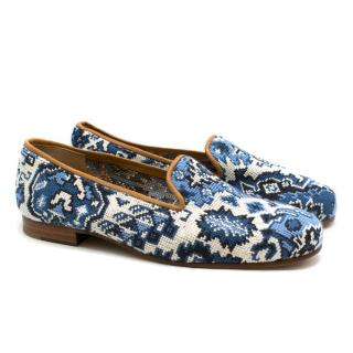 Stubbs and Wootton Blue & White Tapestry Slipper