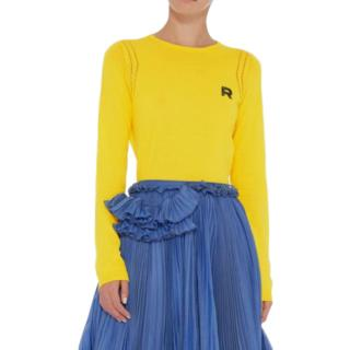 Rochas Yellow Logo Cut-Out Top
