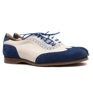 Marc Guyot White & Navy Leather Oxford Shoes