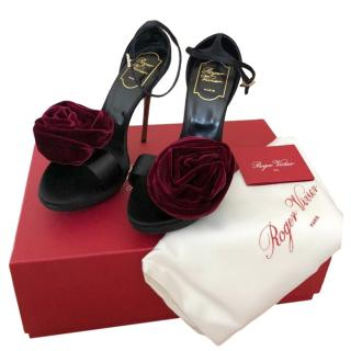 Roger Vivier Velvet Rose Embellished Sandals