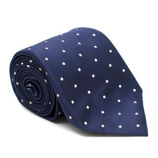 D'Avino Napoli Navy Polka Dot Silk Tie