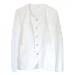 Comme Des Garcons White Embroidered Trim Jacket