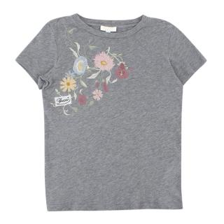 Gucci Girls Grey Floral-embroidered T-shirt