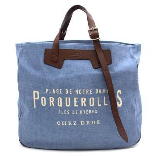 Chez Dede Blue Porquerolles Tote Bag