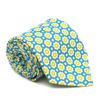 Liverano & Liverano Blue & Green Floral Print Silk Tie
