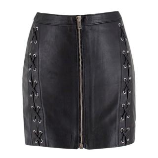 The Kooples Black Leather Lace-Up Mini Skirt