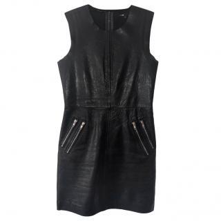 Maje Leather Zip-Detail Mini Dress