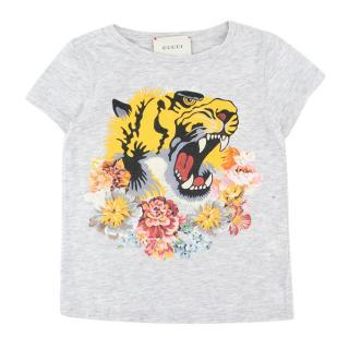 Gucci Girls Light Grey L'Aveugle Par Amour T-shirt