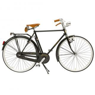Montante Bespoke Cicli Black Vintage-style Bicycle W/ Bespoke Satchel