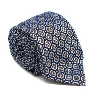 Ulturale Napoli Blue and Black Flower Pattern Silk Tie