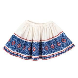 Bonpoint Girls White Embroidered Skirt