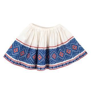 Bonpoint Girls White Embroidered Skirt