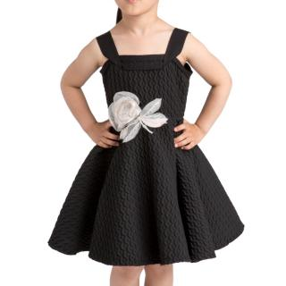 Lanvin Petite Girl's Black A-line Dress with Matching Hair Clip