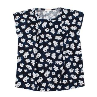Gucci Girls Navy Floral Print Top