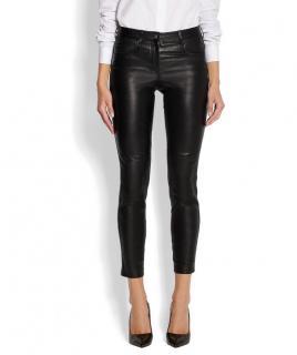 Givenchy skinny-leg black leather pants