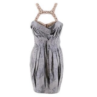 Matthew Williamson Blue-Grey Embellished Cloque Runway Dress