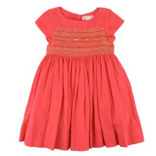 Bonpoint Girls Pink Cotton Dress