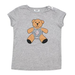 Moschino Baby Grey Teddy Bear Print T-shirt