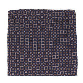 Drake's Navy Printed Silk Pocket Square