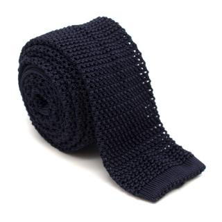 Kilgour Navy Silk Open Knit Square Cut Tie