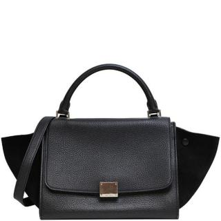 Celine Leather & Suede Small Black Trapeze Bag