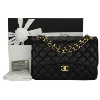 53892311cd4 Chanel Black Lambskin Leather Double Flap Jumbo Bag