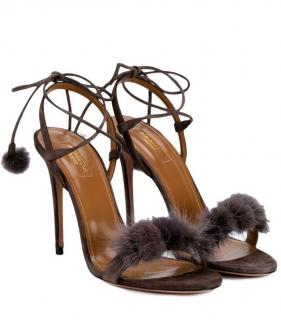 Aquazzura Wild Thing Russian mink fur sandals