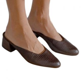 Mari Giudicelli  brown embossed leather mules