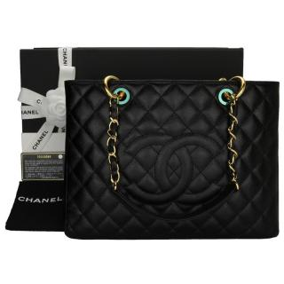 982349ec99 Chanel black Caviar Grand Shopping Tote Bag
