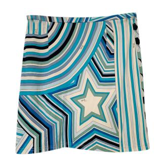 Emilio Pucci Aqua Striped/Star Print Skirt