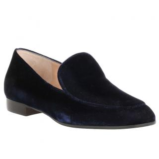 Gianvito Rossi Blue Suede Loafers