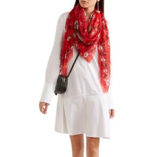 Alexander McQueen Red Skull & Butterfly Print Scarf
