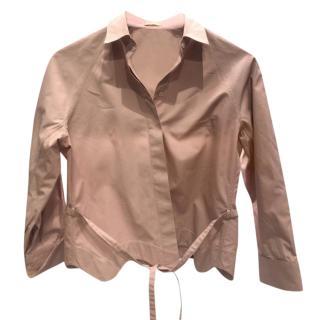 Alaia Blush Cotton Scalloped Hem Shirt
