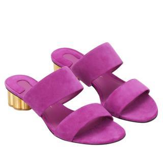 Salvatore Ferragamo Flower Heel Belluno Suede Sandals