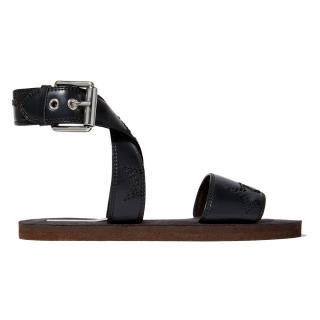 Stella McCartney black leather flat sandals