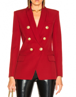 Balmain Red Oversize Double-Breasted Blazer