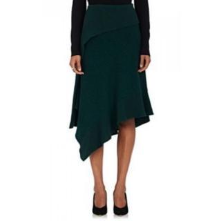 Paco Rabanne Rib Knit Bottle Greeen Asymmetric Skirt